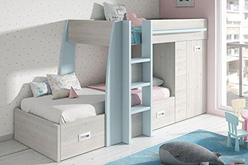 Mobelcenter - Train de litière pour enfants - combinaison Blanc Nordique et Bleu - Mesures : 273 cm de long - (0843)