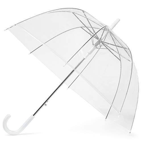 GadHome Transparent | Translucide | Transparent | Parapluie de mariage avec poignée en C | Semi-automatique | Blanc