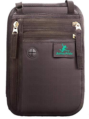 Porte-documents pour le cou - Sac de voyage pour le cou - Porte passeport pour le cou avec verrouillage RFID - Portefeuille de voyage antivol pour femmes, hommes et enfants