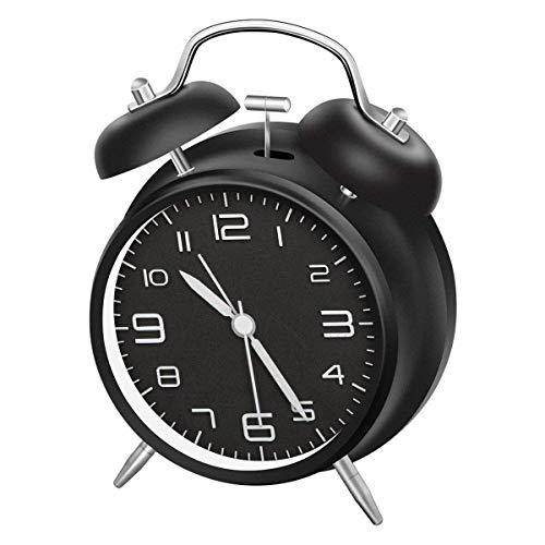 Réveil LATEC double cloche avec veilleuse, grande sphère de 4 pouces, pile bruyante, sans tic-tac, silencieux, clochette rétro-réveil, Quartz unité
