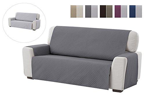 Housse de canapé Adele, 3 places, Revêtement de canapé rembourré réversible, pour la maison textile. Couleur Gris
