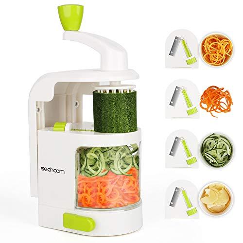 Coupe-légumes en spirale Sedhoom Coupe-légumes multifonctions Food 4 lames, Spiralizer hacher les fruits, légumes, carottes, oignons, pour sauce, salade, salade