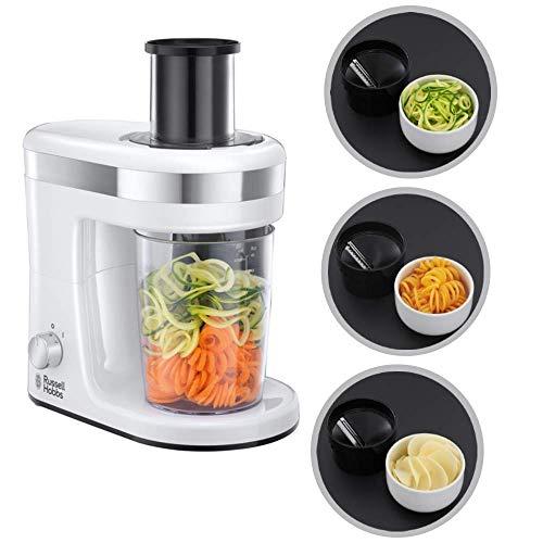 Russell Hobbs Ultimate - Coupeuse spirale électrique pour légumes et fruits (spiraleuse), comprend 3 accessoires de coupe, 300 W, blanc et gris, sans BPA - ref. 23810-56