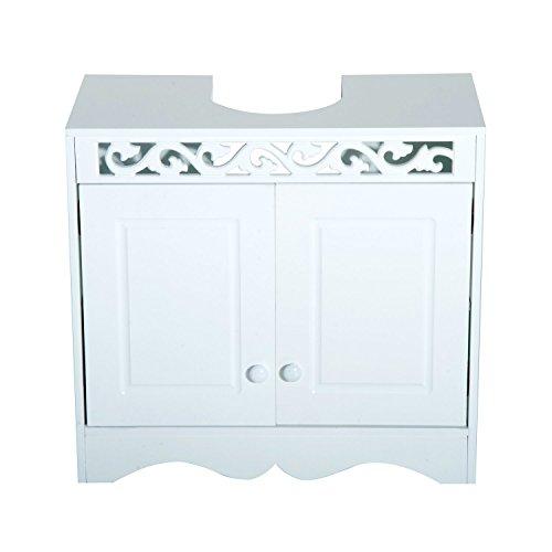 HomCom Meuble de salle de bains avec 2 portes et étagères - Blanc - 60x30x56cm