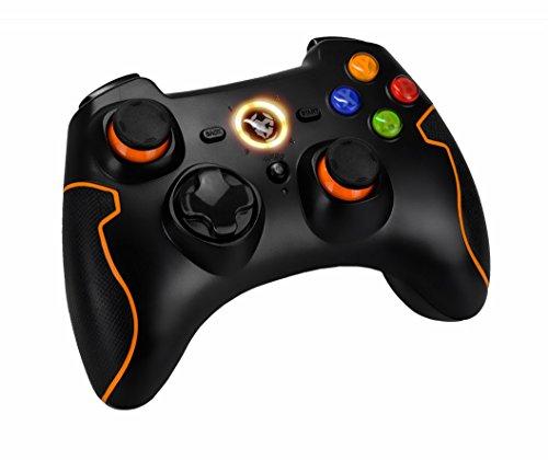 Krom NXKROMKHNS Khensu Pro Gaming Gamepad sans fil, noir/orange