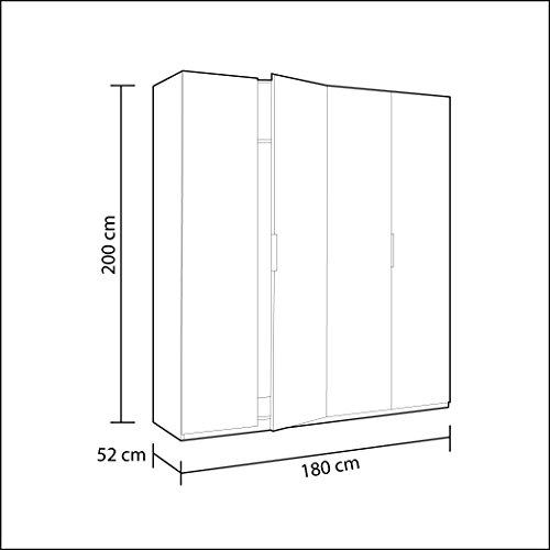 Habitdesign MAX054BO - Armoire 4 portes, blanc clair, dimensions 200 x 180 x 52 cm bas