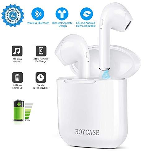 Casque sans fil intra-auriculaire roycase, étui de charge, Bluetooth V4.2, mains libres avec microphone, compatible iPhone et Android, couleur blanc