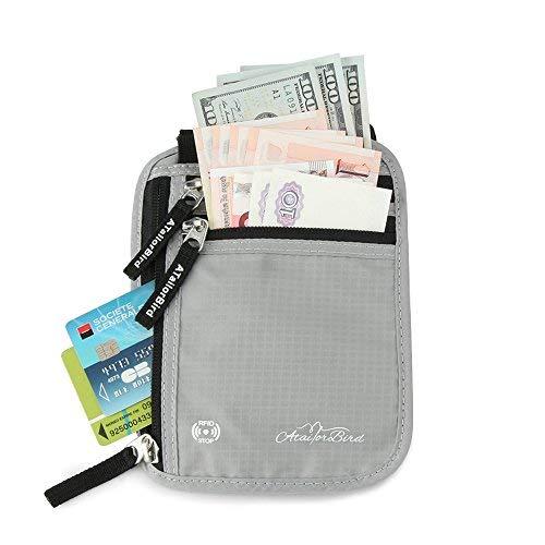 ATailorBird Anti-Theft Protection RIFD étanche à l'eau poche arrière Protège Mobile, passeport, carte de crédit, argent comptant, argent comptant, Keys-Gray