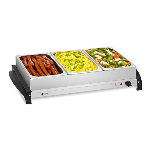Royal Catering RCHP-400/3 Chauffe-plat électrique Chauffe-buffet (3 x 2 L, 400 W, 45-85 °C, couvercles en verre acrylique, acier inoxydable)