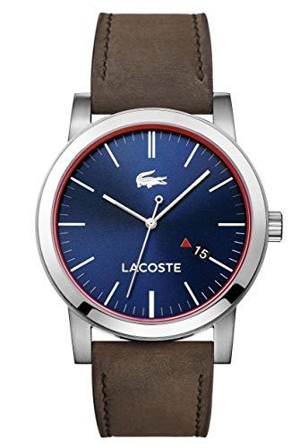 Lacoste 2010848 - Montre analogique à quartz avec bracelet cuir pour homme, marron/bleu