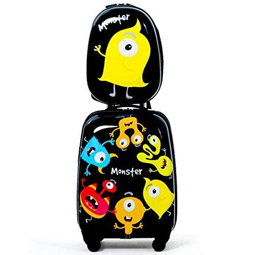 COSTWAY Valise de voyage à roulettes COSTWAY pour enfant avec sac à dos enfant à roulettes pivotantes (noir)