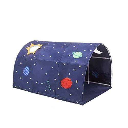Cozyhoma - Tente pour enfants avec tunnel pour 90-100 cm Largeur pour lit superposé pour enfants, bleu, 100x140x80cm