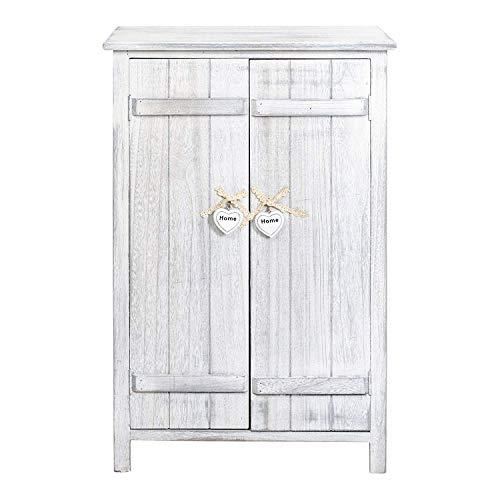 Rebecca Mobili Table de chevet avec 2 portes, meuble de rangement, 3 étagères intérieures, blanc, chic, pour salle de bain de cuisine - Dimensions : 78 x 51 x 31 cm (AxANxF) - Art. RE4573