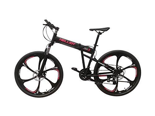 Vélos Helliot Hummer 01 Vélo de montagne pliable, bicyclette unisexe adulte, noir, M-L