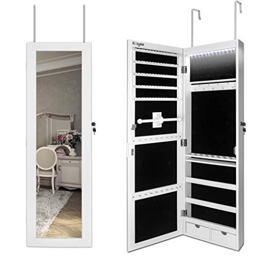 Ezigoo Jewelry Box Miroir avec armoire à bijoux, porte de porte Jewel Box Miroir mural avec cabinet avec lumières LED, 110 x 31,5 x 8,5 cm