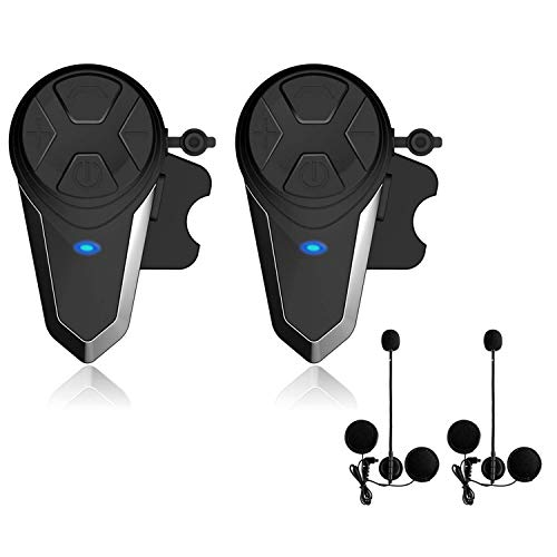 Lemnoi BT-S3 Interphone pour casque de moto, Intercom Bluetooth pour radio FM mains libres de moto, portée de communication de 1000m, étanche (BT-S3*2)