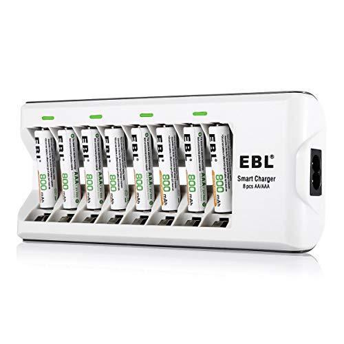 EBL 808A 8 Bay AA AAA Chargeur de batterie avec 8 piles rechargeables AAA 800mAh Ni-MH rechargeables 800mAh.