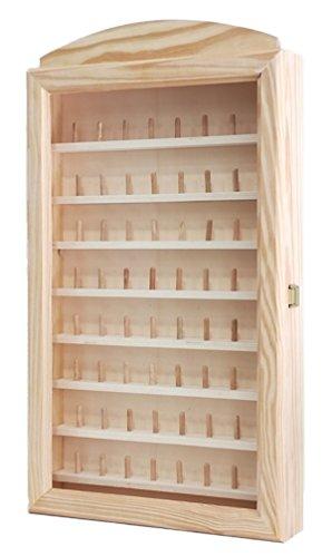 Vitrine de présentation de grandes collections de dés à coudre. Pour 64 dés à coudre. Dimensions (largeur/bas/hauteur) : 30 * 6.5 * 54 cm.