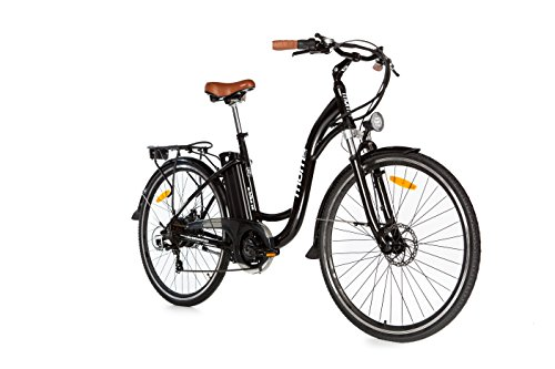 Moma Bikes Electric Bike, Urban EBIKE-28', Alu.  SHIMANO 7V & Batterie de frein à double disque. Lithium Ion 36V 16Ah