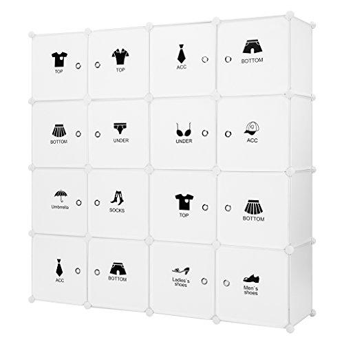 Armoire modulaire LANGRIA 16 Cube Convertible Organizer avec portes, 1 barre pour les vêtements suspendus, autocollants décoratifs, Range-meubles vêtements, chaussures, accessoires, jouets (blanc)
