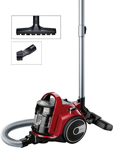Bosch BGC05AAA2 GS05 Aspirateur sans sac Cleann'n, design ultra-compact, filtre lavable Hepa H12, brosse spéciale pour sols délicats, 700 W, 1,5 litre, 78 décibels, rouge et noir