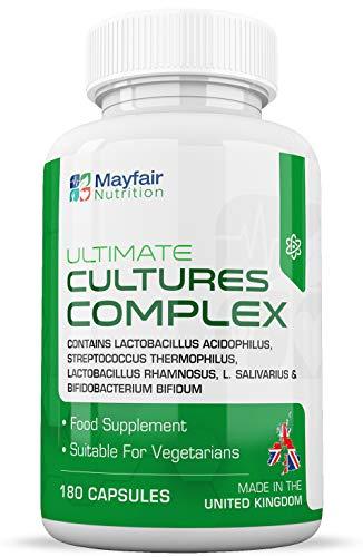 Complexe de cultures | 180 tablettes source de 10 milliards CFU 180 | Lactobacillus et Acidophilus | Sans modification génétique ni gluten | 6 mois d'utilisation | Fabriqué au Royaume-Uni par Mayfair Nutrition