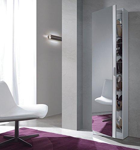 Habitdesign 00786666BO - Porte-souliers avec miroir, fond 180 x 50 x 20 cm, couleur blanc vif