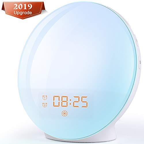 Lumière d'alarme de réveil - 2019 LED Simulation de l'aube et du crépuscule, 2 alarmes, 7 lumières de couleur, 20 niveaux de luminosité, fonction Snooze, 7 sons naturels, radio FM