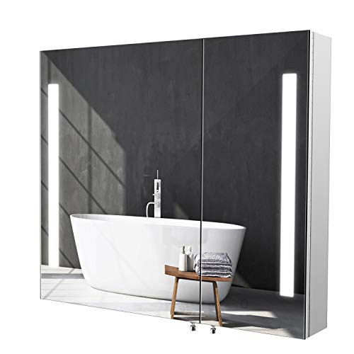 Homfa Armoire murale Armoire de salle de bains Armoire miroir Armoire de salle de bains avec éclairage LED 2 portes 2 compartiments en acier inoxydable 76x66x13cm
