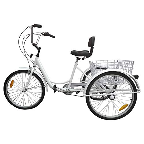 Ridgeyard Adult Tricycle 24' 6 vitesses 3 roues adulte avec panier d'achat - blanc