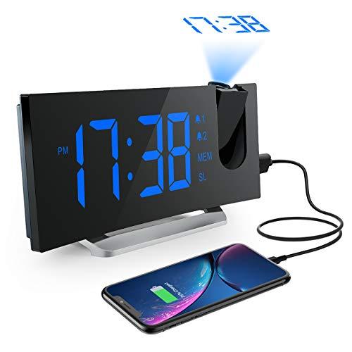 Radio-réveil numérique Projecteur, Radio-réveil FM Mpow Projection Radio-réveil numérique, Réveil numérique, Double alarme avec 4 sons 3 tonalités, Port USB, Affichage LED 5' & 6 luminosité, 12/24 heures, Snooze