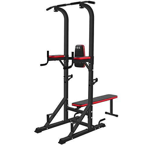 Machine de musculation ISE Multistation, tablette d'accroupissement multifonctionnelle avec banquette pliante et supports d'haltères : chaise romaine, push-ups, dips, push-ups, bench press SY-4006