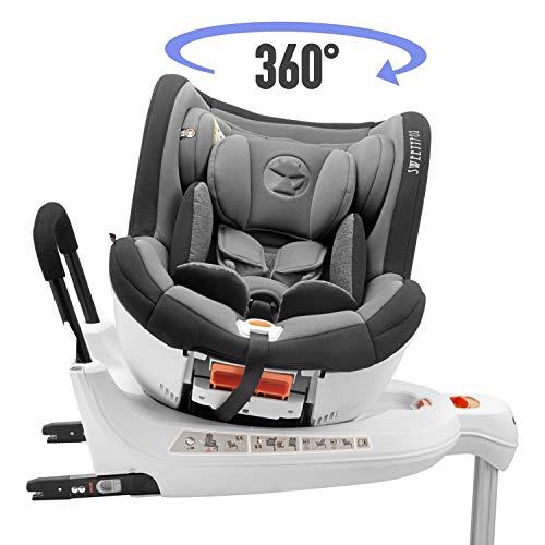 Siège auto pivotant 0-18kg, 360º, ISOFIX, Groupe 0+/1, Norme ECE R44/4 (Sécurité maximale pour votre enfant) - Siège auto 0 + 1, inclinable, rotatif avec siège enfant relevable