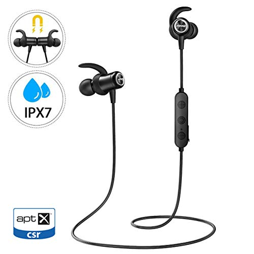 Mpow S11 Bluetooth Headset 5.0, aptX Sports Headset In Ear Wireless IPX7 étanche à l'eau avec audio HD, Sports Magnetic Headset Sport Microphone Run for Android iPhone PC etc.