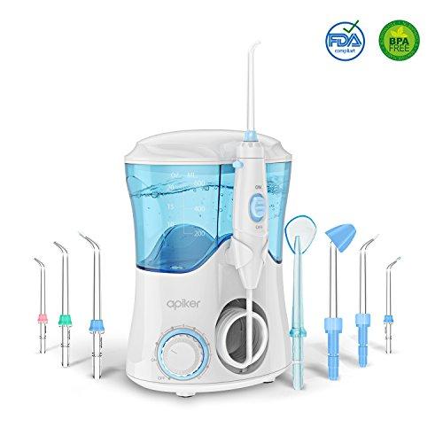 Irrigateur dentaire professionnel avec 8 buses multifonctions, Irrigateur oral Apiker d'une capacité de 600ml, 10 réglages de pression d'eau, nettoyage des dents, approuvé FDA.
