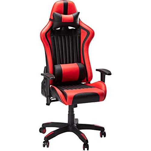 Chaise de jeu SLYPNOS, chaise de bureau de course ergonomique Ordinateur de bureau, angle réglable 90°-135° à haut dossier avec appui-tête et coussin lombaire de bureau (rouge et noir)