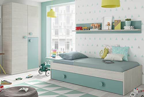 Pack Meubles de chambre à coucher pour les jeunes Nid de lit Tablette de lit et penderie Vert et Blanc 90x190 cm Sans Somier