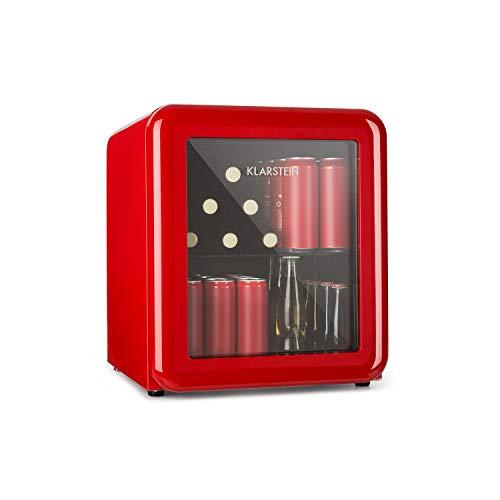 Réfrigérateur Klarstein Poplife pour boissons - Mini Bar - Réfrigérateur rétro - 0-10°C - Seulement 39 dB - Écologique - Double porte vitrée - Design rétro - Rouge