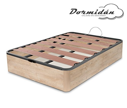 Dormidane - Canapé pliable Offre, Coins arrondis de grande capacité, Couverture Somier avec lattes vapeur et blocs de polyéthylène (135 x 190 cm, Chêne)