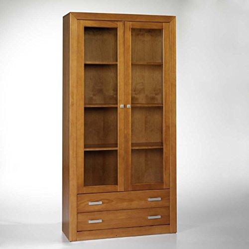 Vitrine 2 portes et deux boîtes, 200X100X37. INTEGRAMMEMENT RÉALISÉE en bois de pin massif