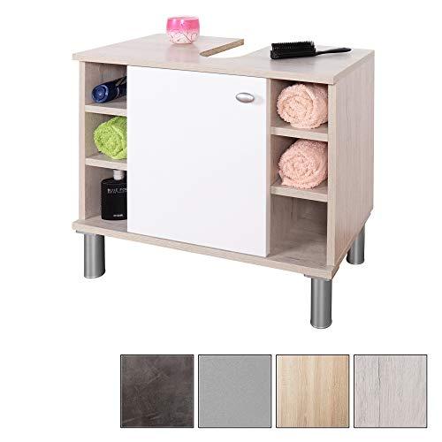 RICOO Meuble bas pour lavabo Meuble de salle de bains Largeur 60cm WM100-EP-W portaoggetti Modern Base armadietto pour lavabo avec étagère intérieure/bois en couleur Chêne Picard et porte blanche