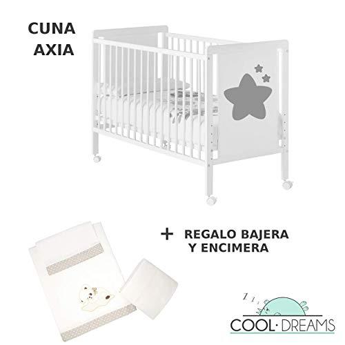 Lit bébé Axia (5 hauteurs de sommier) + kit literie inclus + 4 roulettes + Cadeaux Cool-Dreams