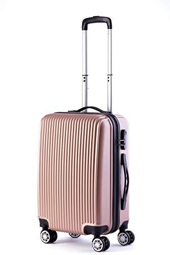 OM HOME Bagages à main ABS Cabine 20'' Légère FAST 4 Roues 55CM 40L (Or Rose, 20'' 55CM)