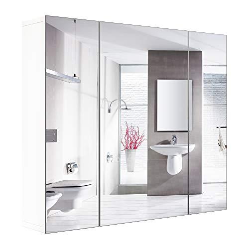 Armoire de salle de bains avec miroir Armoire murale avec 3 portes 4 compartiments 70x60x30cm