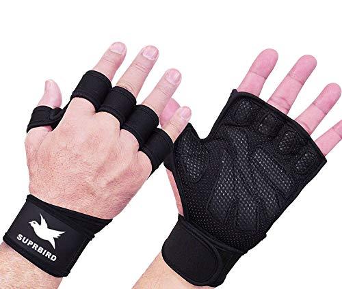 Gants Crossfit, Gants de gymnastique, Gants de musculation, Gants de protection intégrale pour la paume de la main et poignée antidérapante extra respirante, pour l'exercice de musculation, l'haltérophilie, pour hommes et femmes.