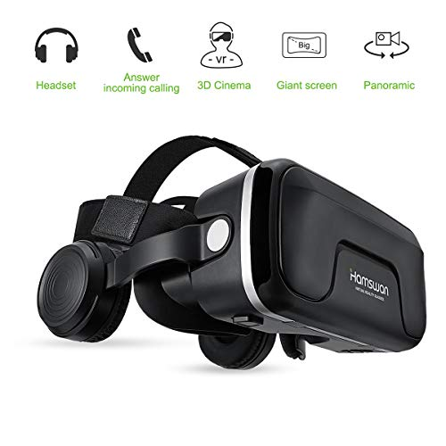 Lunettes de réalité virtuelle HAMSWAN avec casque d'écoute, (cadeaux) Lunettes 3D VR Googles avec casque intégré, vision à 360 degrés, bouton FOV, multifonction pour écran mobile 4.0-6.0 pouces