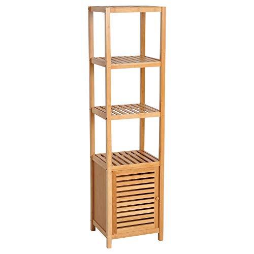 HOMCOM Tablette en bambou pour armoire de salle de bains armoire bibliothèque haute Organiseur 4 niveaux 1 porte 36x33x140cm