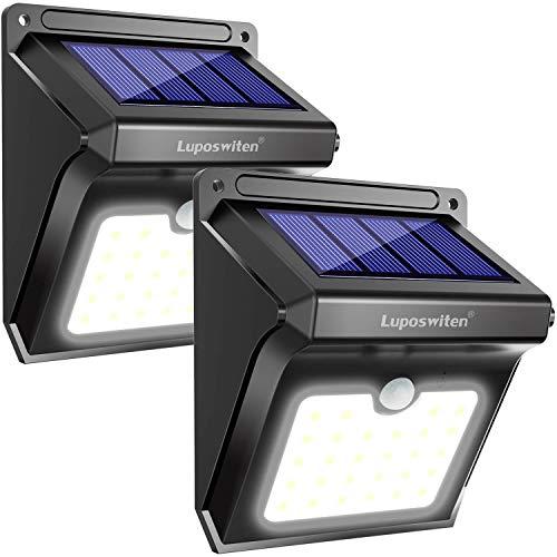 Lampe solaire d'extérieur, Lampes solaires Luposwiten 400 lumens, Applique solaire 28LED avec détecteur de mouvement d'extérieur, Spot solaire pour jardin, balcon, garage, terrasse, route, trottoir (2 pièces)