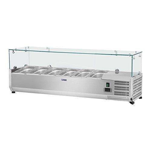 Royal Catering Vitrine réfrigérée RCKV-140/33-6 (140 x 33 cm, 40 L, pour 6 x GN 1/4, 2-10 °C, 110 W, R600a, Thermostat, Couvercle en verre, Fonction décongélation)