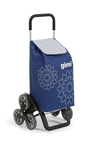 Gimi Tris Floral - Chariot à 6 roues, sac en polyester imperméable, capacité 56 litres, bleu, 41 x 51 x 102 cm